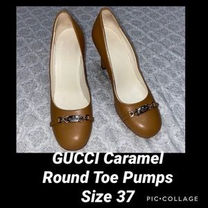 Gucci Caramel Leather Round Toe Pumps Size 37